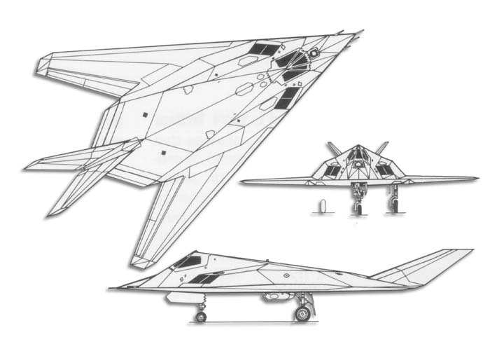 Line Drawing  Aircraft F 117 Stealth Fighter Drawing